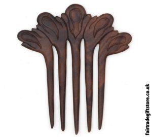 Fair Trade Five Prong Wooden Hair Fork
