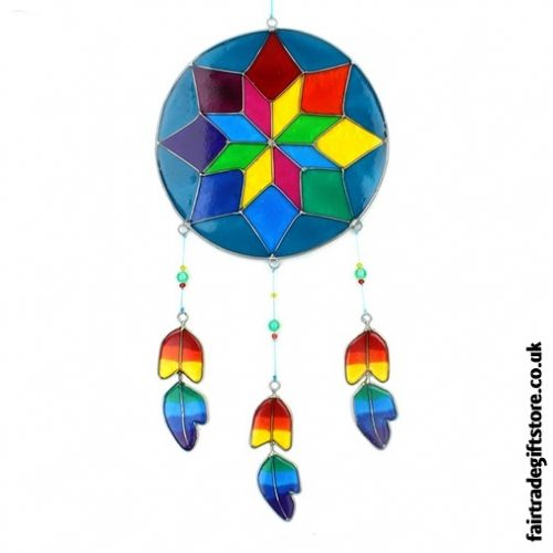 Fair Trade Resin Suncatcher - Multicoloured Dreamcatcher Design
