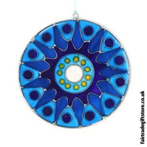 Fair Trade Suncatcher - Bursting Sun - Blues