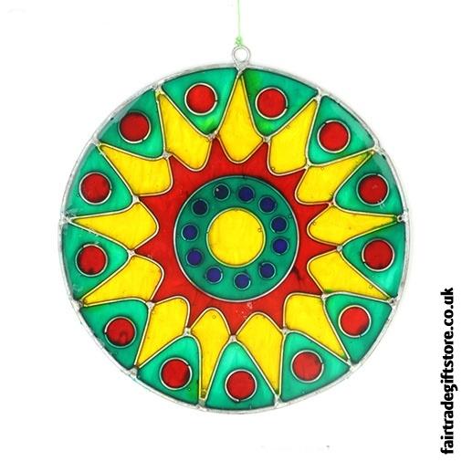 Fair Trade Suncatcher - Bursting Sun - Green, Yellow, Red