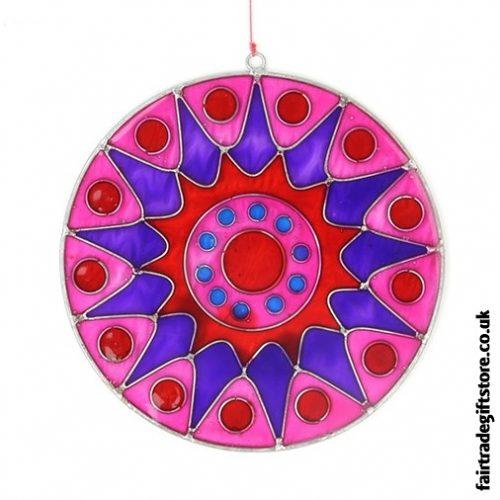 Fair Trade Suncatcher - Bursting Sun - Pink and Purple