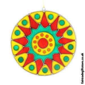 Fair Trade Suncatcher - Bursting Sun - Yellow, Red, Green
