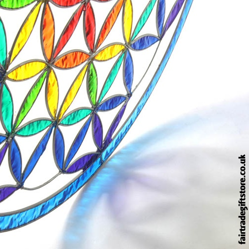 Fair Trade Suncatcher - Giant Flower of Life - close up