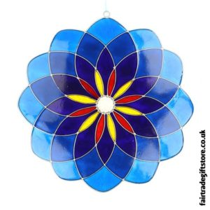 Fair Trade Suncatcher - Large Blue Mandala