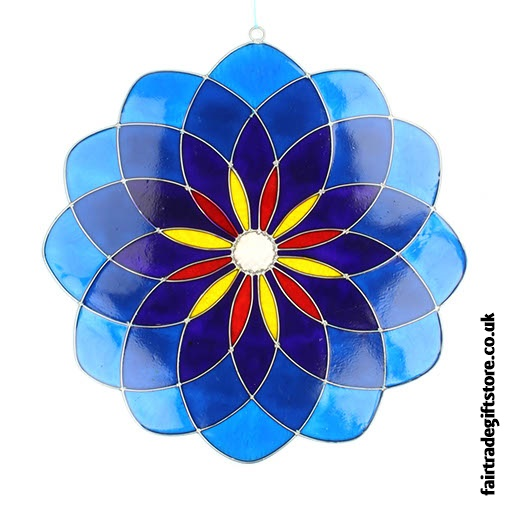 Fair Trade Suncatcher - Large Blue Mandala