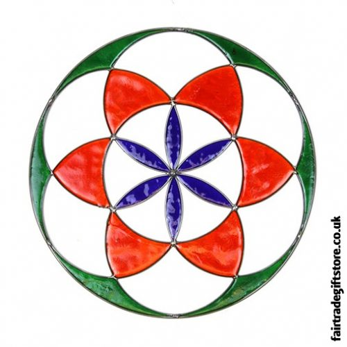 Fair Trade Suncatcher - Seed of Life - Green, Red, Purple