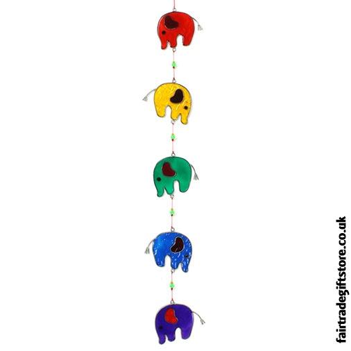 Fair Trade Suncatcher - String of Elephants