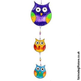 Fair Trade Suncatcher - String of Owls