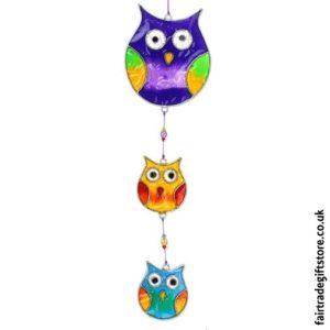 Fair Trade Suncatcher - String of Owls