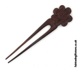 Fair Trade Wooden Hair Fork - Daisy Flower