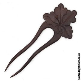 Fair Trade Wooden Hair Fork - Oak Leaf