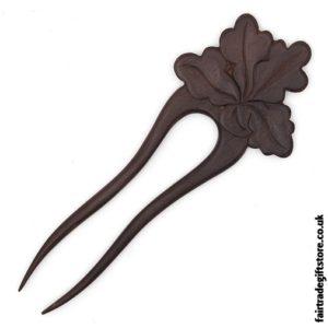 Fair Trade Wooden Hair Fork - Oak Leaf