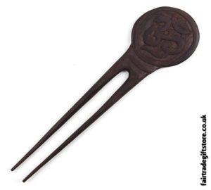 Fair Trade Wooden Hair Fork - Om Symbol