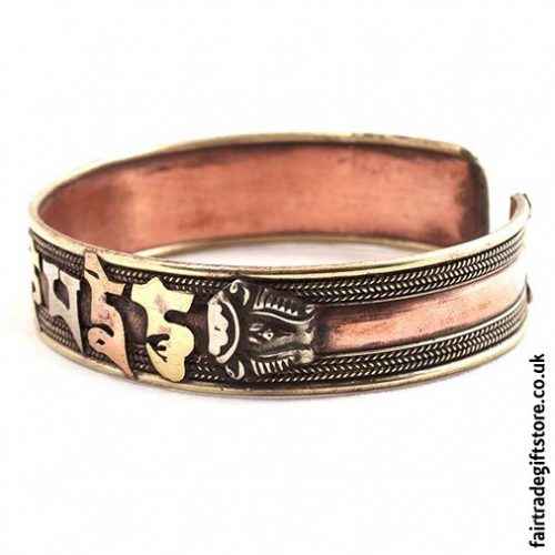 Fair-Trade-Copper-Bracelet-Om-Side-View