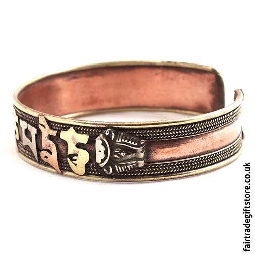 Fair-Trade-Copper-Bracelet-Om-Side-View