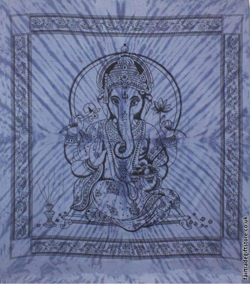 Fair-Trade-Cotton-Throw-Blue-Tie-Dye-Ganesh