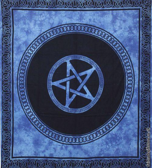 Fair-Trade-Cotton-Throw-Blue-Tie-Dye-Pentagram