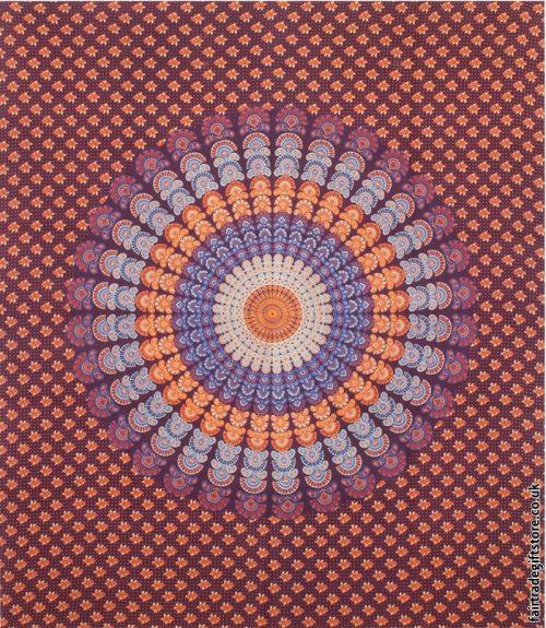 Fair-Trade-Cotton-Throw-Burgundy-Peacock-Feather