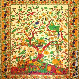 Fair-Trade-Cotton-Throw-Cream-Yellow-Tree-of-Life