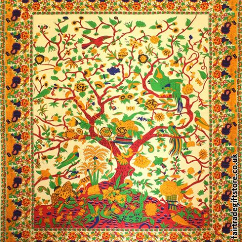 Fair-Trade-Cotton-Throw-Cream-Yellow-Tree-of-Life