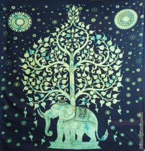 Fair-Trade-Cotton-Throw-Green-Elephant-Tree