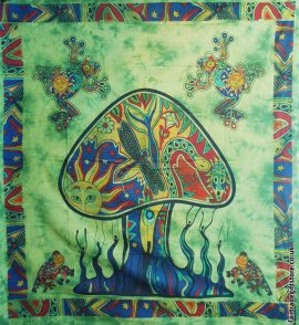 Fair-Trade-Cotton-Throw-Green-Trippy-Mushroom