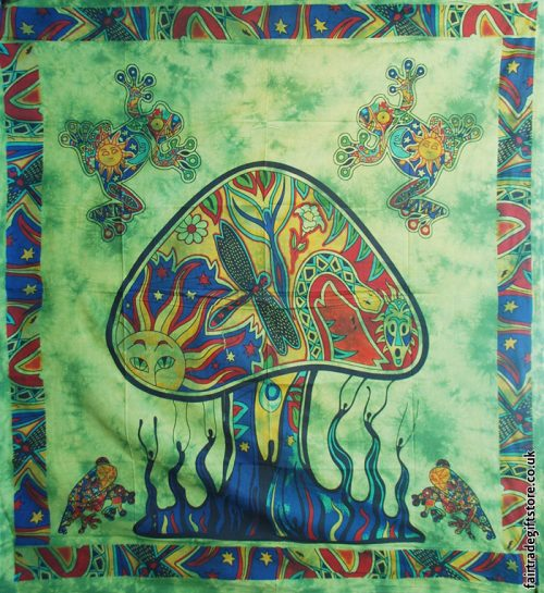 Fair-Trade-Cotton-Throw-Green-Trippy-Mushroom