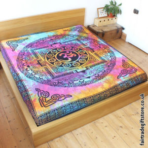 Fair-Trade-Cotton-Throw-Multicoloured-Tie-Dye-Om