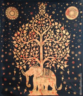 Fair-Trade-Cotton-Throw-Orange-Elephant-Tree