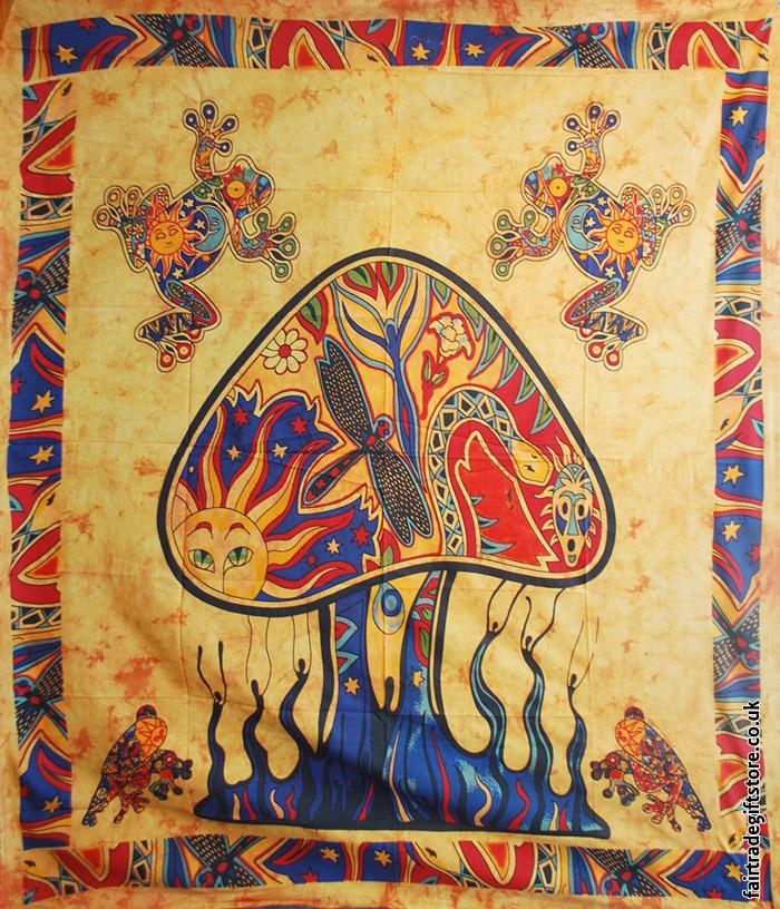 Fair-Trade-Cotton-Throw-Orange-Trippy-Mushroom