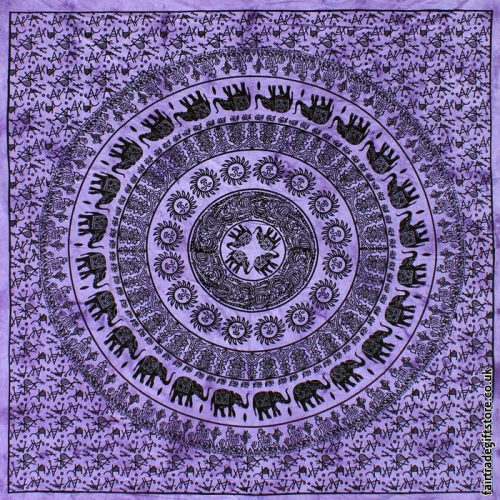 Fair-Trade-Cotton-Throw-Purple-Elephant-Mandala