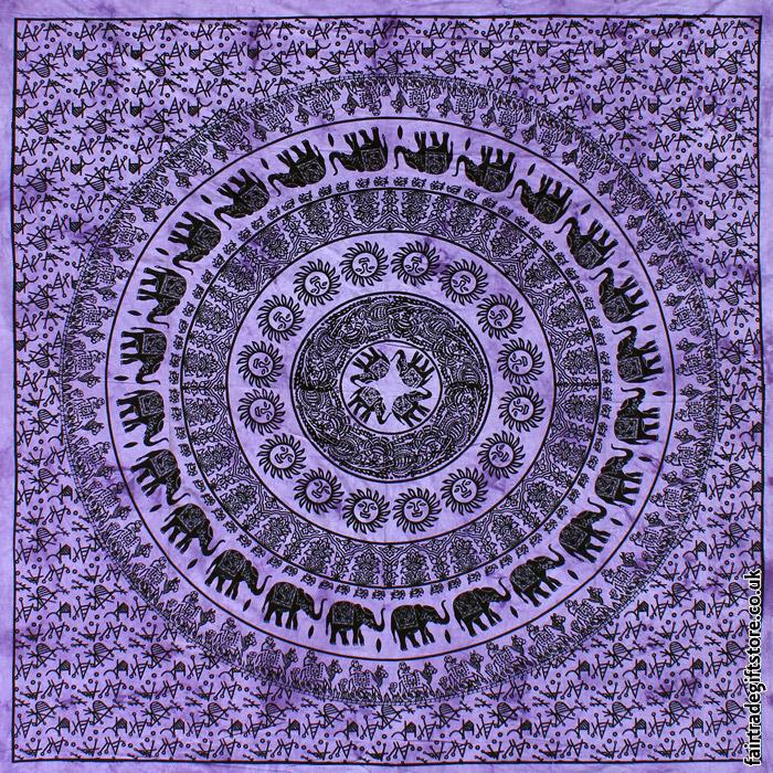 Fair-Trade-Cotton-Throw-Purple-Elephant-Mandala