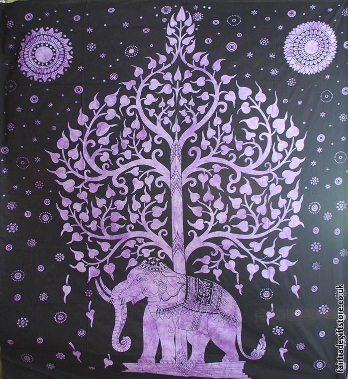 Fair-Trade-Cotton-Throw-Purple-Elephant-Tree