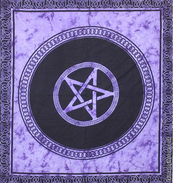Cotton Throw Tie Dye Purple Pentagram Wall Hanging