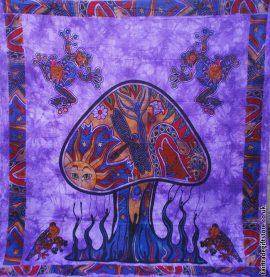 Fair-Trade-Cotton-Throw-Purple-Trippy-Mushroom