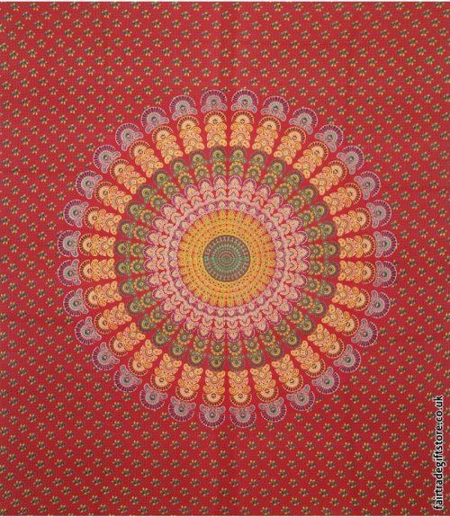 Fair-Trade-Cotton-Throw-Red-Peacock-Feather