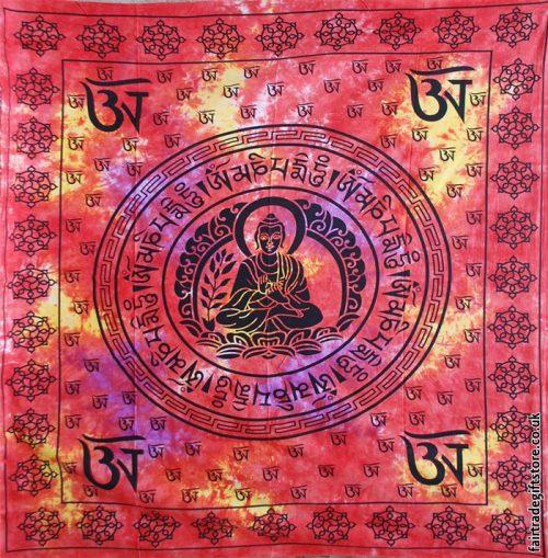 Fair-Trade-Cotton-Throw-Red-Tie-Dye-Buddha