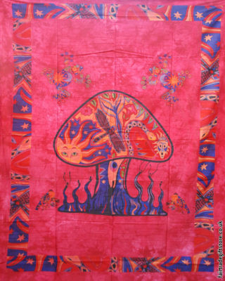 Fair-Trade-Cotton-Throw-Red-Trippy-Mushroom