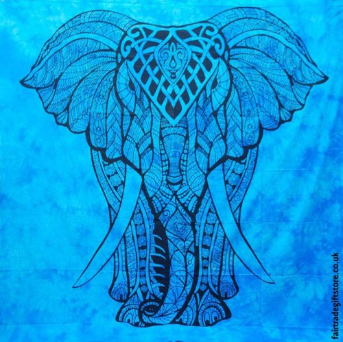 Fair-Trade-Cotton-Throw-Turquoise-Mandala-Elephant