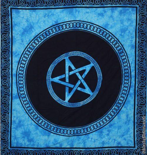 Fair-Trade-Cotton-Throw-Turquoise-Tie-Dye-Pentagram