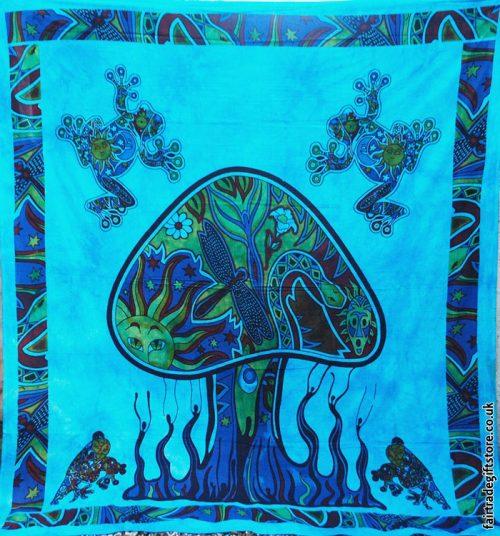 Fair-Trade-Cotton-Throw-Turquoise-Trippy-Mushroom