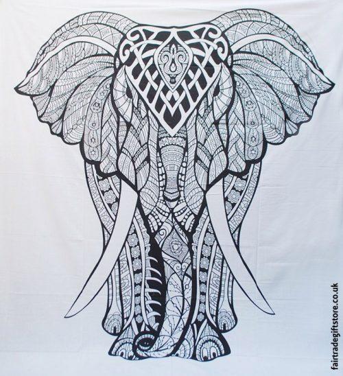 Fair-Trade-Cotton-Throw-White-Mandala-Elephant
