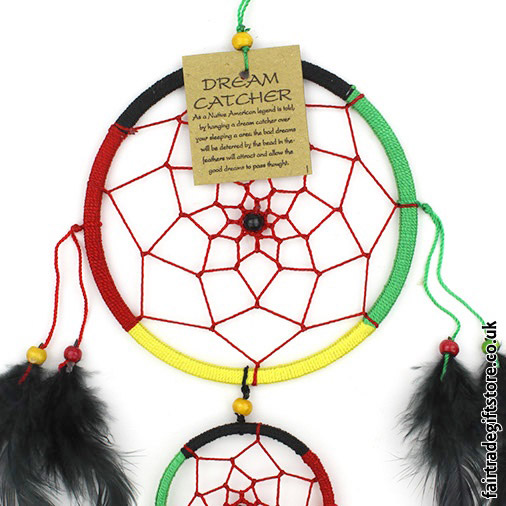 Fair-Trade-Dreamcatcher-Rasta-Medium-Round-Two-Ring-close-up