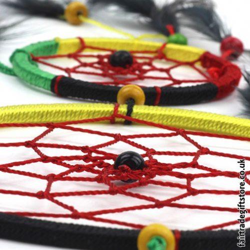 Fair-Trade-Dreamcatcher-Rasta-Medium-Round-Two-Ring-detail