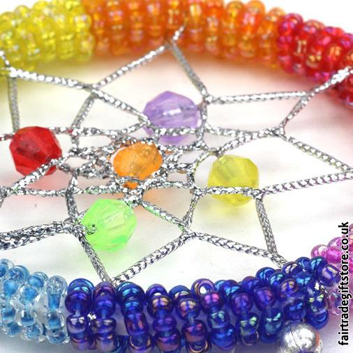 Fair-Trade-Dreamcatcher-Small-Rainbow-Round-Beaded-close-up