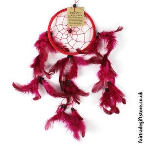 Fair-Trade-Dreamcatcher-Small-Round-Red