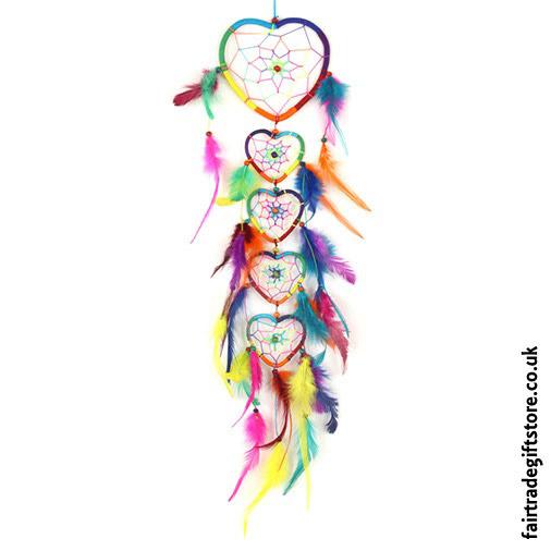 Fair-Trade-Dreamcatcher-String-of-5-Rainbow-Hearts