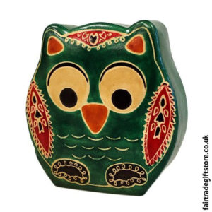 Fair-Trade-Leather-Money-Box-Small-Green-Owl