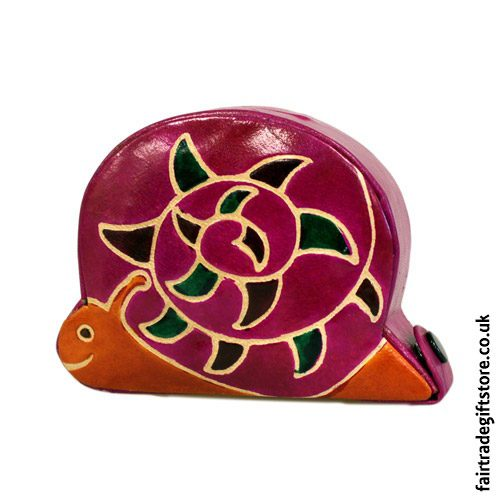 Fair-Trade-Leather-Money-Box-Small-Pink-Snail