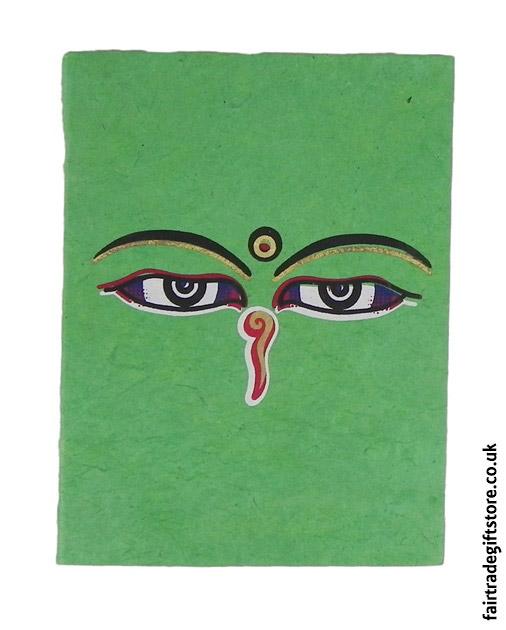 Fair-Trade-Lokta-Paper-Notebook-Green-Buddha-Eyes